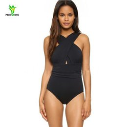 Wholesale One Piece Halter Swimsuits - New Sexy Cross Halter women swimwear one piece swimsuit Black red Solid women conjoined bathing suits