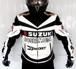 Wholesale Motorcycle Racing Leather Suit - Motorcycle racing suit Professional Classic racing jacket for SUZUKI leather PU overalls winter motorcycles riding clothes