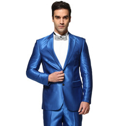 Wholesale Shiny Suit Men S - Wholesale- Men's Wedding Suits Shiny Blue Fashion Casual Party Tuxedo Costume Homme Ternos Masculino Stage Mariage Business Suits Z1186