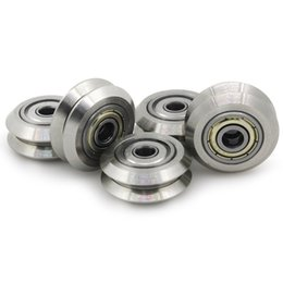 Wholesale 3d Printers Wholesale - Stainless Steel Metal Double V-type Pulley Wheel Gear with Bearings Aluminum Extrusion Line for 3D Printer( Pack of 5pcs)