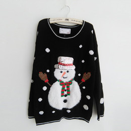 Wholesale Ugly Sweaters - Wholesale-2016 New-arriving Women's Ugly Christmas Sweaters Fluffy Snowman black color Wearing Scarf and Sequin Hat Pullovers