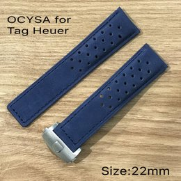 Wholesale Hollow Butterfly Charms - OCYSA High quality hollow out crazy horse genuine leather watch strap for heuer ,genuine soft ,with silver butterfly clasp