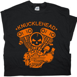 Wholesale Cool Custom Shirts - Knucklehead Motorcycle Engine T Shirts Harley Biker West Coast Triumph Garage Cool Customs Cycles Davidson Chopper
