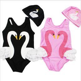 Wholesale Animal Print Girls Kids Swimsuit - Girls Swimwear Baby Swan Flamingo Swimsuits Kids Parrot Print Bathing Suits Toddler INS Bikini Bathing Caps Children Clothing Sets H2262