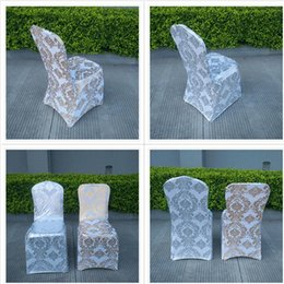 Wholesale Wholesale Flower Chair Covers - Newest Fashionable Flower Chair Covers 45*45*90CM Gold Silver Stretch Wedding Supplies Desk Chair Covers Special Occasion Hotel Desk Cover