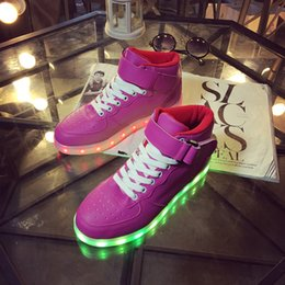 Wholesale Neon Pink Tops - 2017 Glow Luminous Basket tenis led Simulation High Top Trainer Neon Tall Shoe with Light up for Adult Male Feminino Men bule pink 34-45