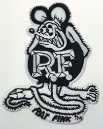patch diy cloth Coupons - Top Quality White And Black Rat Fink Embroidered Iron On Patch 100% Embroidery Patch Badge DIY Cloth Accessories Patch Free Ship