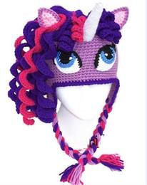 Wholesale Unicorn Knitting - Unicorn Pony Hat Crochet Knitted Cap Newborn Infant Toddler Knitted Hat Baby Boy Girl Kids Cartoon Hat Autumn Winter Children Beanie Cotton