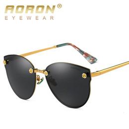 Wholesale Leisure Glasses - AORON Brand Designer Polarized Sunglasses Women's Glasses Metal Frame oculos de sol Steampunk Anti Glare Goggles Leisure Eyewear S382A