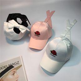 Wholesale Korea Mans Style - 2017 New Korea Style Rose Embroidery Baseball Caps Men Women White Black Pink Bow Snapback Caps Solid Adjust Hip Hop Cap