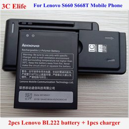 Wholesale Original Lenovo Battery - Wholesale- 3pcs=2x Original Lenovo BL222 Battery 3000mAh For Lenovo S660 S668T Mobile Phone Battery +1x YIBOYUAN Universal Charger Adapter
