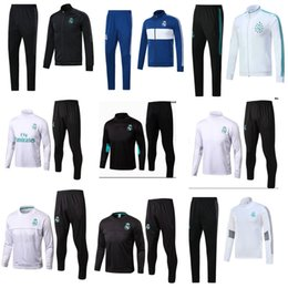 Wholesale Black Track Suits - 2017 Real Madrid Jacket Tracksuit Training top and Long pant 17 18 white RONALDO BLACK track suits training SUIT skinny pants Sports