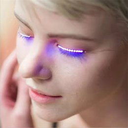 Wholesale Dance Turning - LED Eyelashes for Dance Concert Christmas Halloween New year LED Eye lashes Waterproof Turn Heads on Nightclub bar Cool Shinning bright DHL