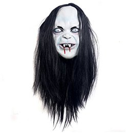 Wholesale Terror Mask Film - Wholesale-Sadako Mask Halloween Stadium   joke   party film   Terror protagonist apparel artificial hair mask and rubber support