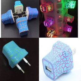 Wholesale Glowing Usb Charger - LED Light USB Wall Charger Crack Style Glow Lighting 5V 1A AC Travel Charging US EU Plug Power Adapter for iphone 6 6 plus Samsung Universal