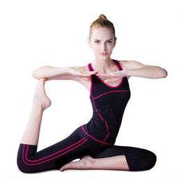 Wholesale Training Suits For Women - Women Sport Yoga Sets Vest Pants Suits for Workout Running Fitness Training Clothing Girl Sports Shirts Women Sportswear