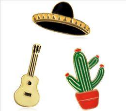 Wholesale Guitars China Wholesale - Fashion Mix Hat Guitar Cactus Brooches Pins Badges Rainbow Pineapple Pizza Hamburger Brooches Pins For Women Enamel Pin
