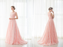Wholesale Satin Lace Girls Dresses - Pink Lace 2017 Christmas Prom Party Dresses Long Women Lady Evening Gowns Big Girls Pageant Celebrity Red Carpaet Catwalk Special Occasion
