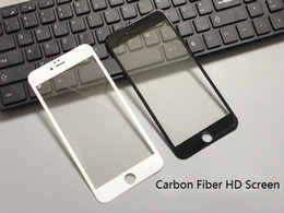 Wholesale Cheapest 3d Glasses - Cheapest Glossy Carbon Fiber 3D Tempered Glass Screen Protector For iPhone 8 7 6 6S Plus HD Clear Tempered Glass Free DHL