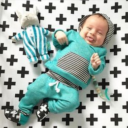 Wholesale Set Arrival Pants - NEW Arrival Kids suits 2016 baby Boys Girls Long Sleeve hoodies+Pants Outfits 2PCS Hooded striped Clothes high quality cotton casual top Set