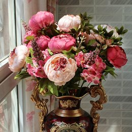 Wholesale High End Bridal Bouquets - Bridal Bouquet European Style Peony Multi Color High End Simulation Flower For Wedding Home Decor Photography Prop Hot Sale 14xj F