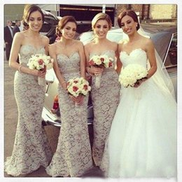 Wholesale Satin Sweetheart Wedding Gown - Sexy 2017 Mermaid Sweetheart Bridesmaid Gowns Floor Length Gray Lace Long Bridesmaid Dresses Cheap Wedding Party Dresses