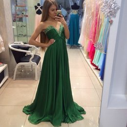 Wholesale Chiffon Bridesmaid Gowns Beading - Charming Green Long Evening Dresses With Hand Beading And Pleat Chiffon A-Line Prom Gowns 2017 vestidos de Noiva baile