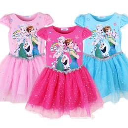 Wholesale Chinese Formal Short Dresses - Kids Frozen Gauze Sequins Dress Girls short sleeve lace Princess dress 3colors 6sizes for 1-6T