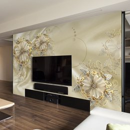 Wholesale Classic Beautiful Paintings - Custom Photo Wallpaper For Walls European Morder Luxury Style Beautiful Flowers TV Background Mural Wall Painting Wallpaper 3D