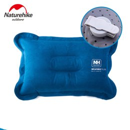 Viajes de viaje online-Al por mayor- Naturehike Suede Camping Pillow Inflable Air Pillow Compressible Best for Outdoor Trips Backpacking Hiking Beach Travel Car