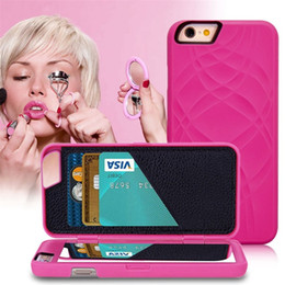 Wholesale Iphone Flip Up - Lady Make UP Mirror phone Case For Iphone 6  6S case for 6 Plus  6s plus5.5 Flip Cases PU Leather Card Slot + Hard PC Back Cover Dual Layer