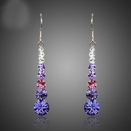 Wholesale Red Austrian Crystal Earrings - Multicolour Round Stellux Austrian Crystal Wedding Drop Earrings For Women TE0260