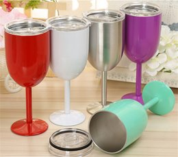 Wholesale Shot Glass Cool - 2017 Fashion 10 oz Wine Cups 9 Color Wine glasses wine cooler Stainless steel Bottle Tumbler True North mugs By DHL Free shipping