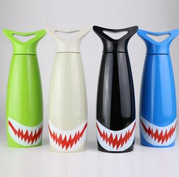 Wholesale Vacuum Yellow - Shark Cartoon Water Bottle 400ML Cycling Camping Sports Water Drinking Bottles Stainless Steel Vacuum Insulation Mugs OOA2949