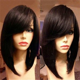 Wholesale Glueless Human Hair Bangs - Bob straight human hair full lace wig with side bang 14inch glueless lace front brazilian hair wigs for black women