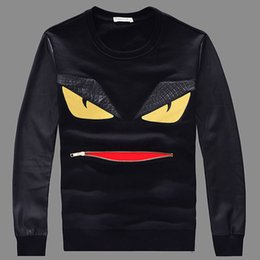Wholesale Men Sweatshirt Leather Sleeves - Wholesale-#2513 2016 Monster Zipper mouth Hip hop sweatshirt Leather sleeve Couple outfits XXXXL Harajuku sweatshirt Streetwear