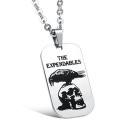 Wholesale Fashion Stainless Steel Dog Tags - Mens Stainless Steel Hip Hop Link Chain The Expendables Owl Skull Pendant Necklace Fashion Men Jewelry Hiphop Necklaces & Pendants Dog Tag