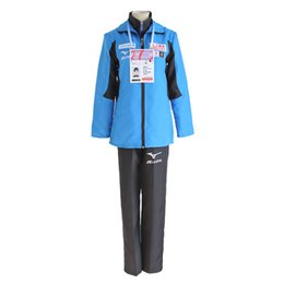 Wholesale Yuri Costume - Yuri on Ice Yuri Plisetsky Katsuki Yuri Victor Nikiforov Cosplay Coat Yuri!!! on Ice Sport Costume Set