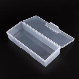 Wholesale File Box Storage Organizer - HOT Plastic Transparent Nail Tools Storage Box Nail Rhinestone Decorations Buffer Files Grinding Organizer Case Box