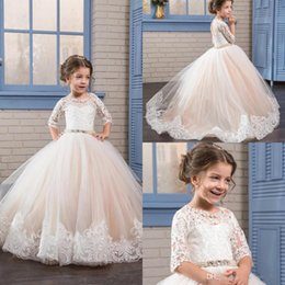 Wholesale Kids Vintage T Shirts - Princess Vintage Beaded 2018 First Communion Flower Girl Dresses Half Sleeves Sheer Neck Kids Dresses Girls Pageant Birthday Party Gowns