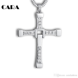 Wholesale Cross Necklace Fast - 2017 New hip hop Fast and furious 8 necklace pendant Dominic Toretto cross Top 316L stainless steel with crystal pendant for men CAGF0128
