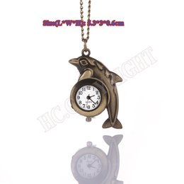 Wholesale Cute Dolphin Kids - Wholesale-Retro Bronze Cute dolphin Quartz Pocket Watch For Kids Necklace Pendant Women FOB Watches