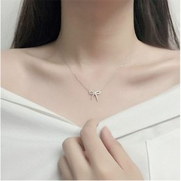 Wholesale Crystal Bow Necklace Wholesale - Korean Accessories Necklace Fashion Simple Jewelry Bow Tie Crystal Rhinestone Necklace for Woman Clavicle Chain Wholesale