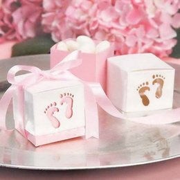 Wholesale Ribbon For Favor Box - FREE SHIPPING 100PCS Baby Feet Favor Boxes Cut-Out Candy Boxes with Satin Ribbon for Baby Shower Birthday Candy Package Supplies