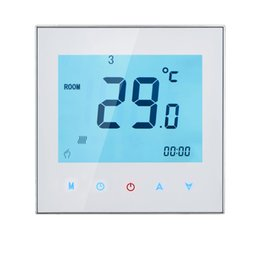 Wholesale Household Thermostat - Freeshipping 3A 110-230V Weekly Programmable LCD Display Touch Screen Water Heating Thermostat Room Temperature Controller