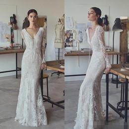 Wholesale Plunging Neckline Mermaid Wedding Dresses - Lihi Hod 2017 Vintage Mermaid Wedding Dresses Lace Plunging Neckline Wedding Gowns Floor Length Long Sleeves Wedding Dress