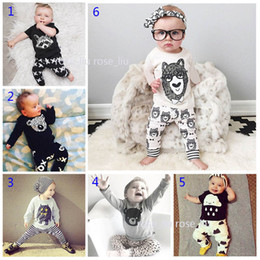 Wholesale 2t Leopard Shirt - 30 Style Baby INS fox stripe letter pajamas Suits Kids Toddler Infant Casual Short long sleeve T-shirt +trousers 2pcs sets Suit B