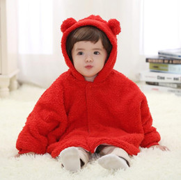 Wholesale Children S Hooded Poncho - Children`s outwear cartoon bear hooded with catoon ear children`s poncho keep warm wool poncho long style