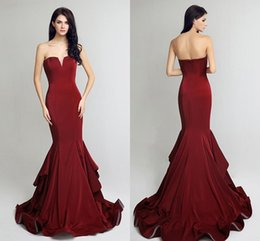 Wholesale Mop Ball - 2017 New Burgundy Sexy Sweetheart Evening Dresses Mermaid Custom Cocktail Party Ball Dress Mopping Length Cheap Customization Evening Gowns