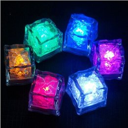 Wholesale Ice Block Lights - Novelty Lighting LED Fluorescent Block Flashing Ice Cube Glass Food Grade PS Material Colorful Square Induced luminescence 1 03ad